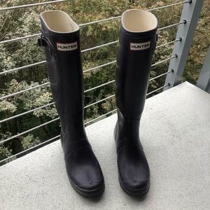 Tall matte purple Hunter rain boots